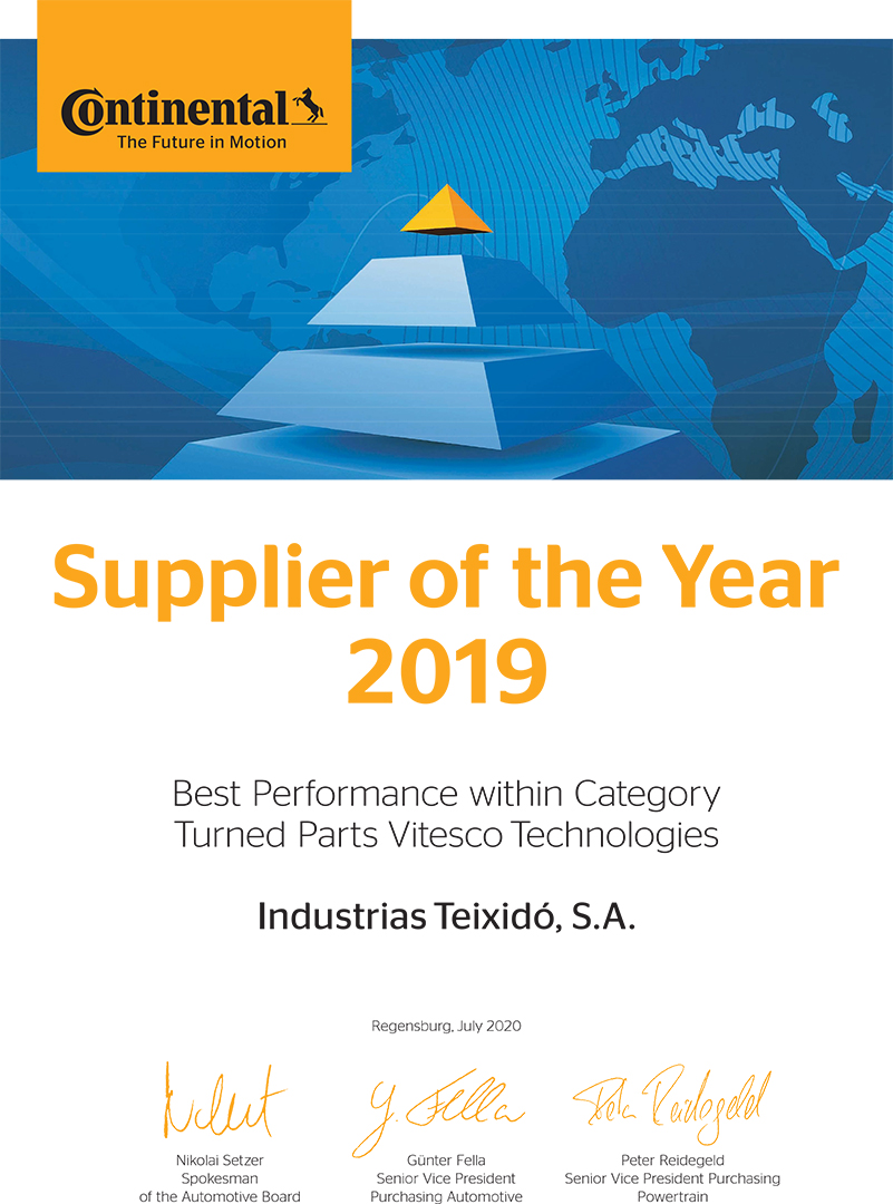 Industrias Teixidó Supplier of the Year 2019 by Continental